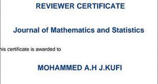تدريسي من كلية التربية الأساسية بجامعة الكوفة يحصل على شهادة تحكيمية كجائزة من دار النشر الأمريكية  SCIENCE PUBLICATION